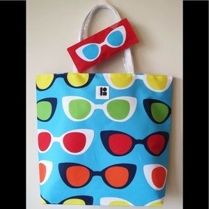 Lisa Perry Design Tote Beach Bag &Sunglasses Pouch